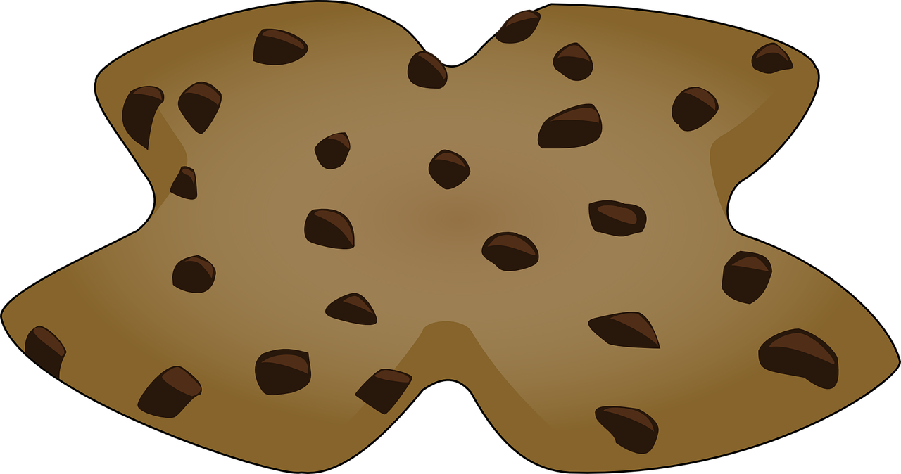 Cookie chocolate chip dessert. Sugar vector brown image free library