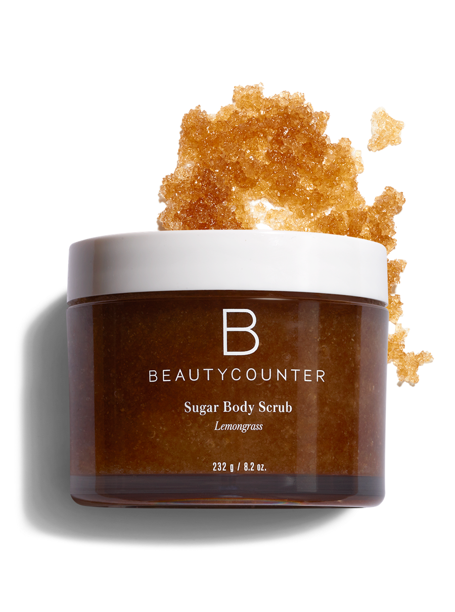 Body scrub in lemongrass. Sugar vector brown banner library