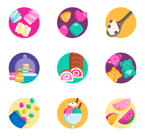 Sugar vector flat. Icons free desserts and