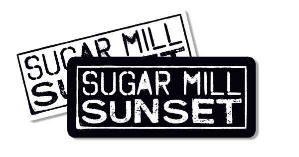 Sugar vector mill. Sunset sticker stories from