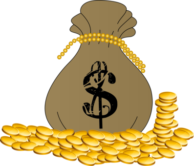 Cash drawing money bag. Coin free commercial clipart