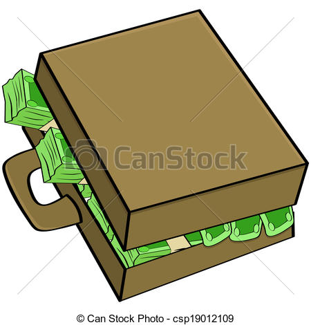 Suitcase clipart money. In cartoon illustration showing image free stock