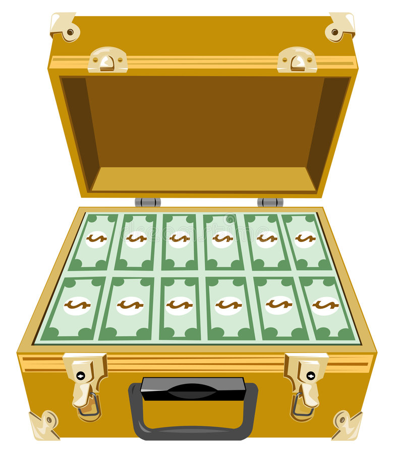 Gold briefcase with stock. Suitcase clipart money picture freeuse download