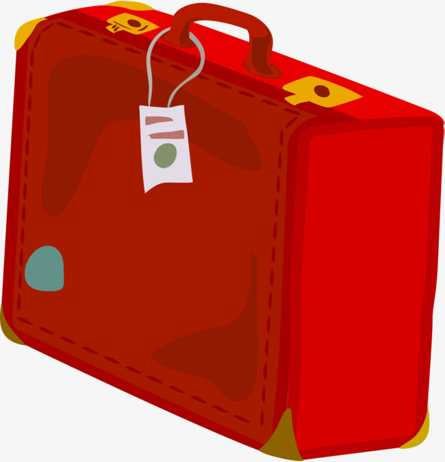 Suitcase clipart suitcase handle. Hand painted red simple