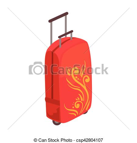 Suitcase clipart suitcase handle. Red large on wheels png royalty free library
