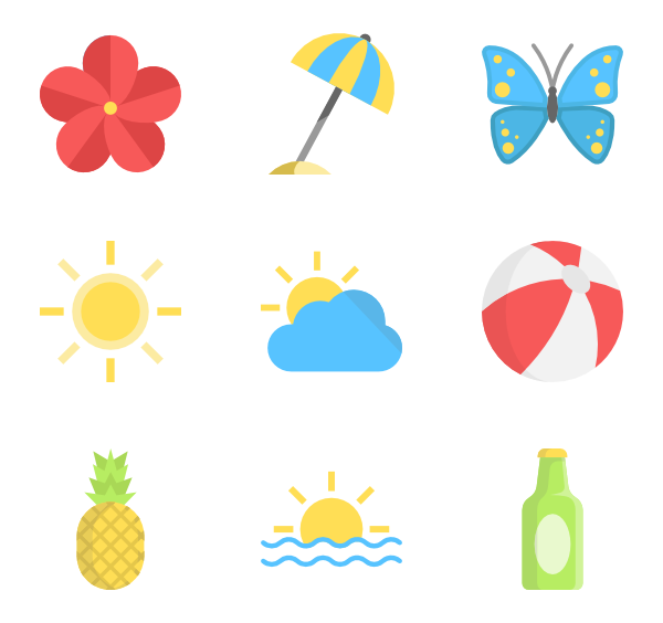 Summer png. Beach icon packs