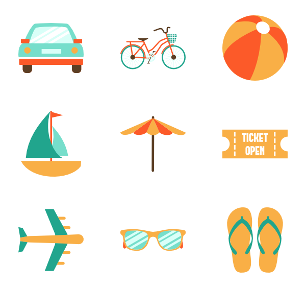 Summer png flat. Icon packs vector