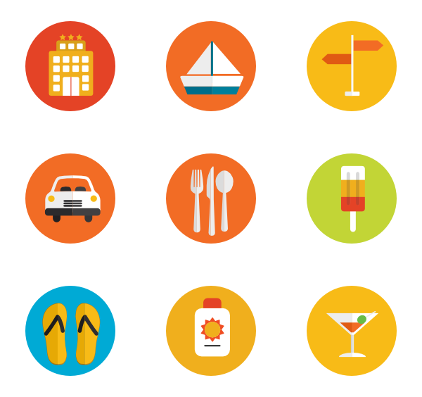 Summer icons png. Free vector set