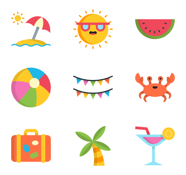 Vector psd summer. Party icon packs