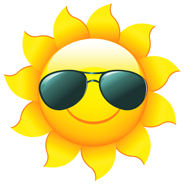 Summer sun png. Transparent with shades clipart