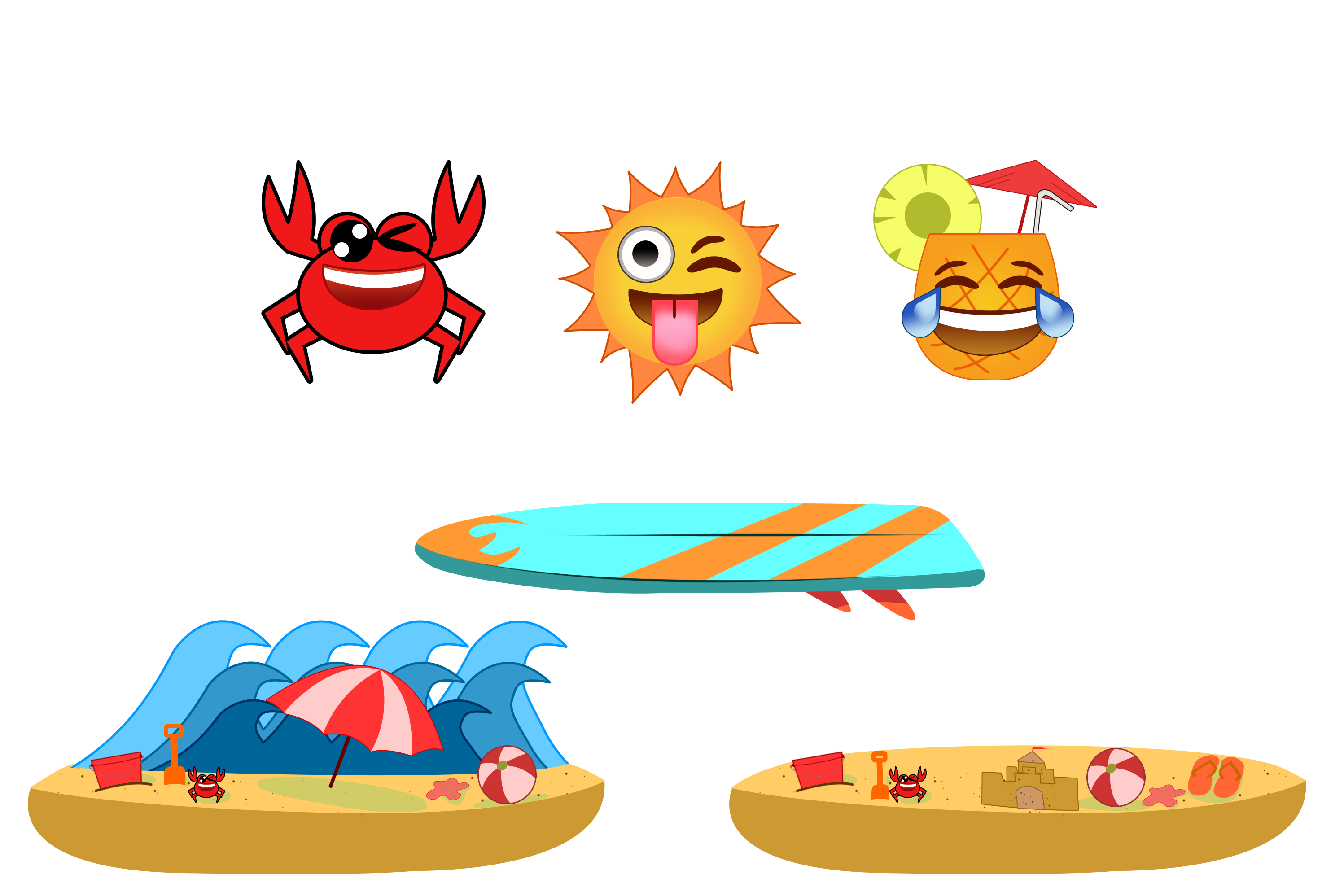 Summer theme png. Emojis and platforms for