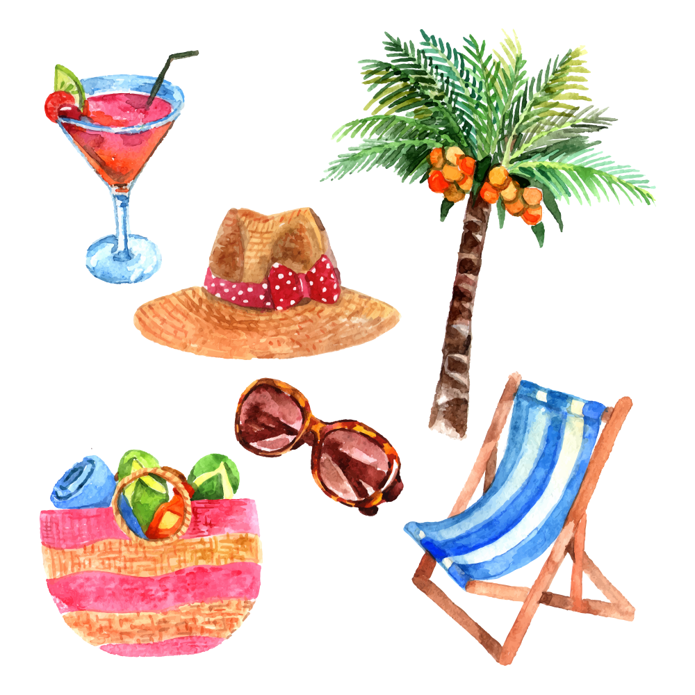 Summer theme png. Watercolor painting travel stock