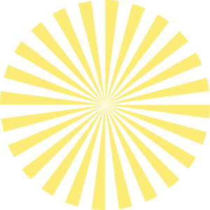 Striped vector sunburst. Pale yellow clip art