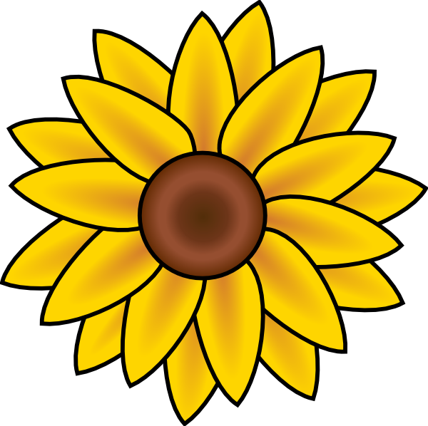 Sunflowers png small. Free sunflower line art