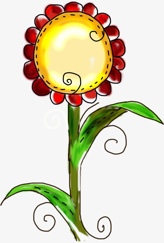 Sunflower clipart diagram. Cartoon hand painted schematic