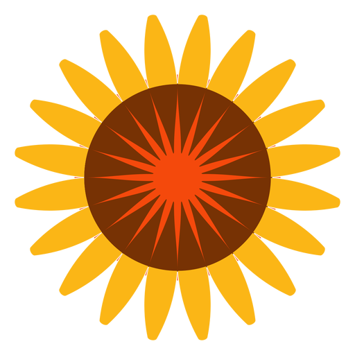 Sunflower png single. Flat isolated head icon
