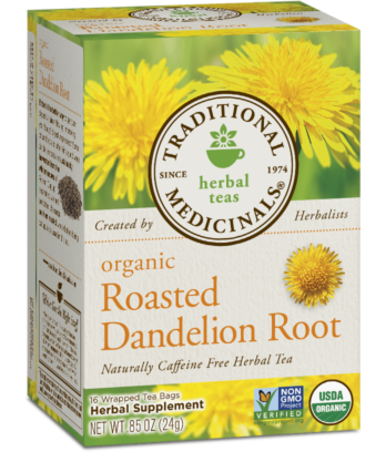 Dandelion transparent root. Roasted traditional medicinals package