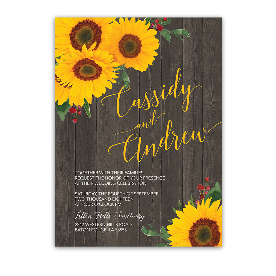 Sunflowers png rustic. Wedding invitation sunflower country