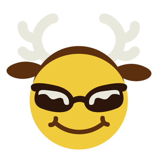 Sunglass svg emoticon. Smiling sunglasses antlers face