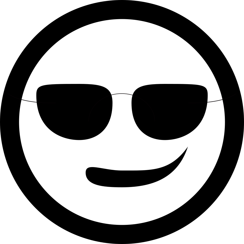 Sunglass svg emoticon. Smiley with sunglasses png