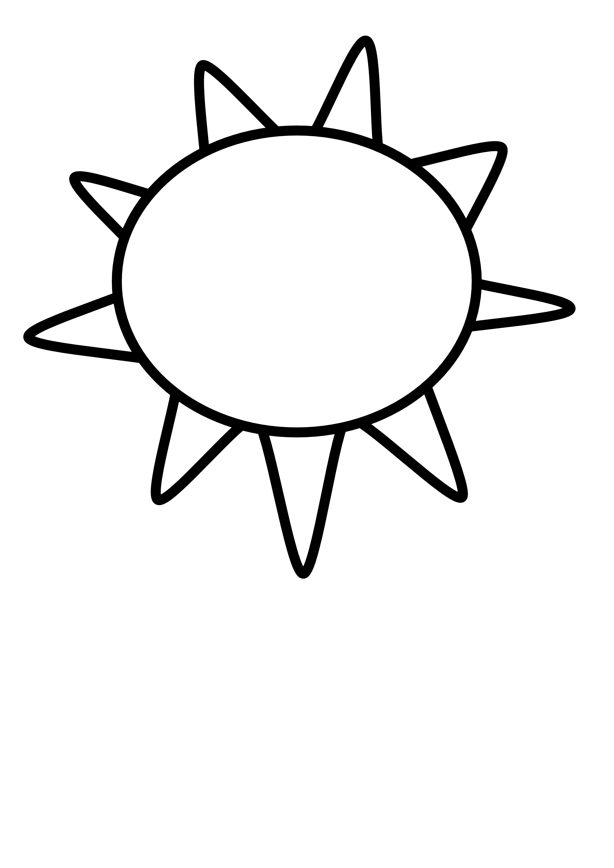 Sunlight drawing half sun. Clipart black and white