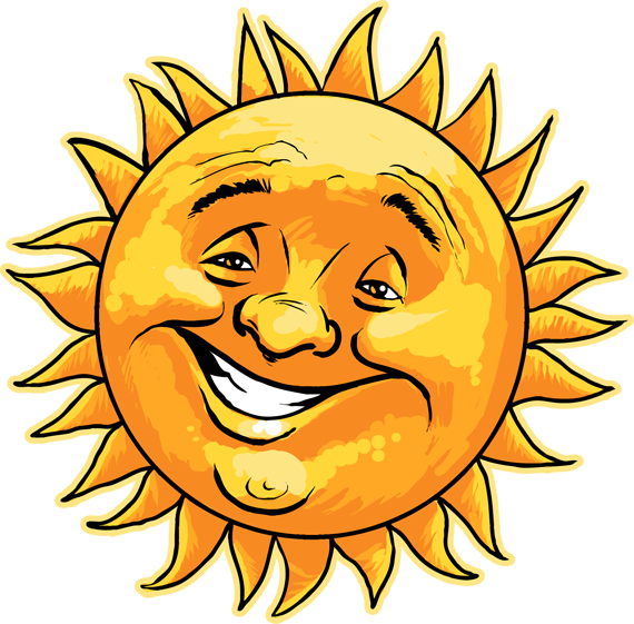 Cheerful smiling sunshine man. Sunlight drawing real sun clip art library stock