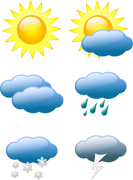 Sunny clip art symbols. Weather clipart different weather clip black and white stock