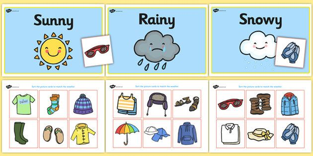 Weather clipart different weather. Clothes sorting activity and