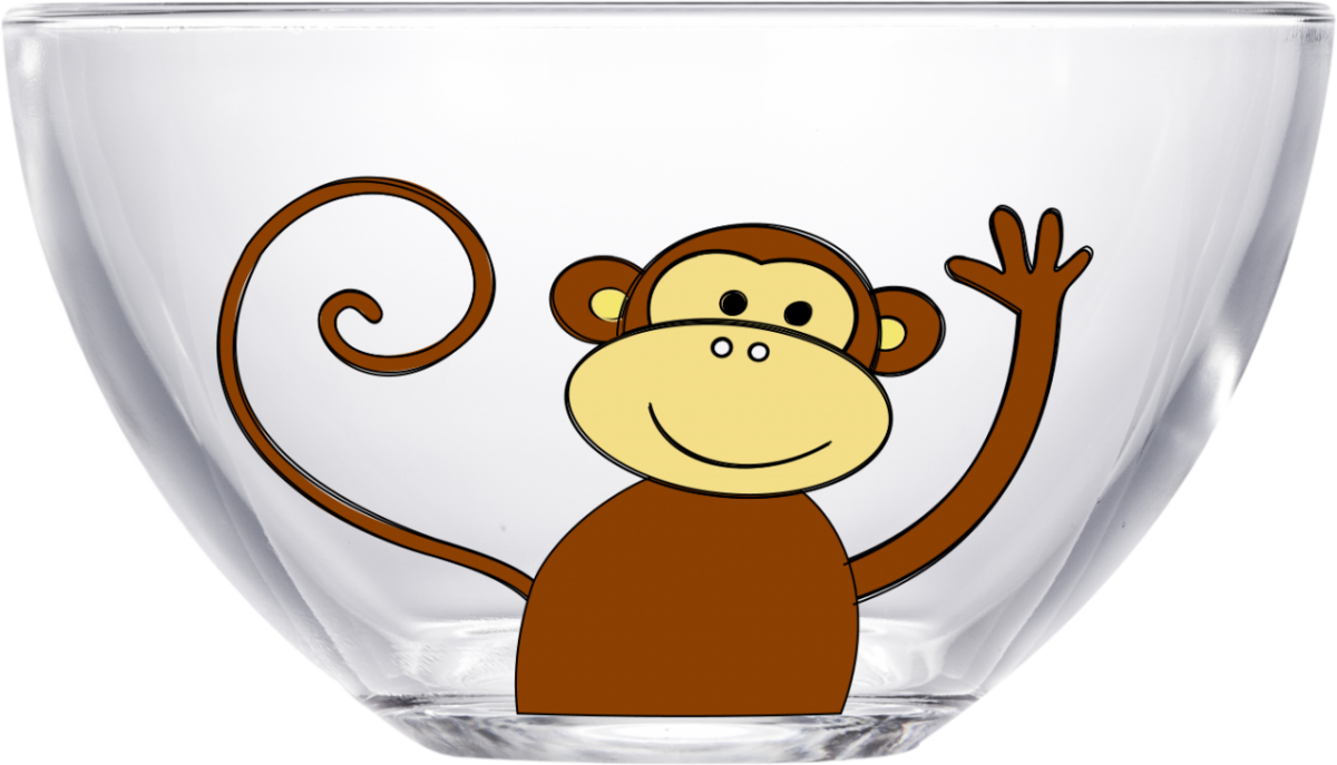 Sunrise transparent cartoon. Monkey d cor bowl