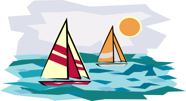 Sail clipart sunset. Two sailboats in clip