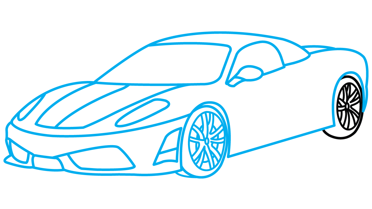 Car step by at. Drawing sports easy picture free