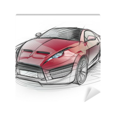 Supercar drawing concept vehicle. Sketch of a sports