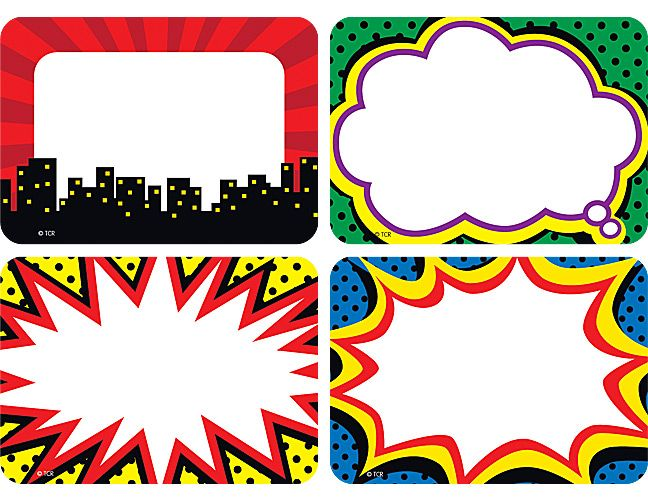 Superhero clipart boarder. Name tags labels multi
