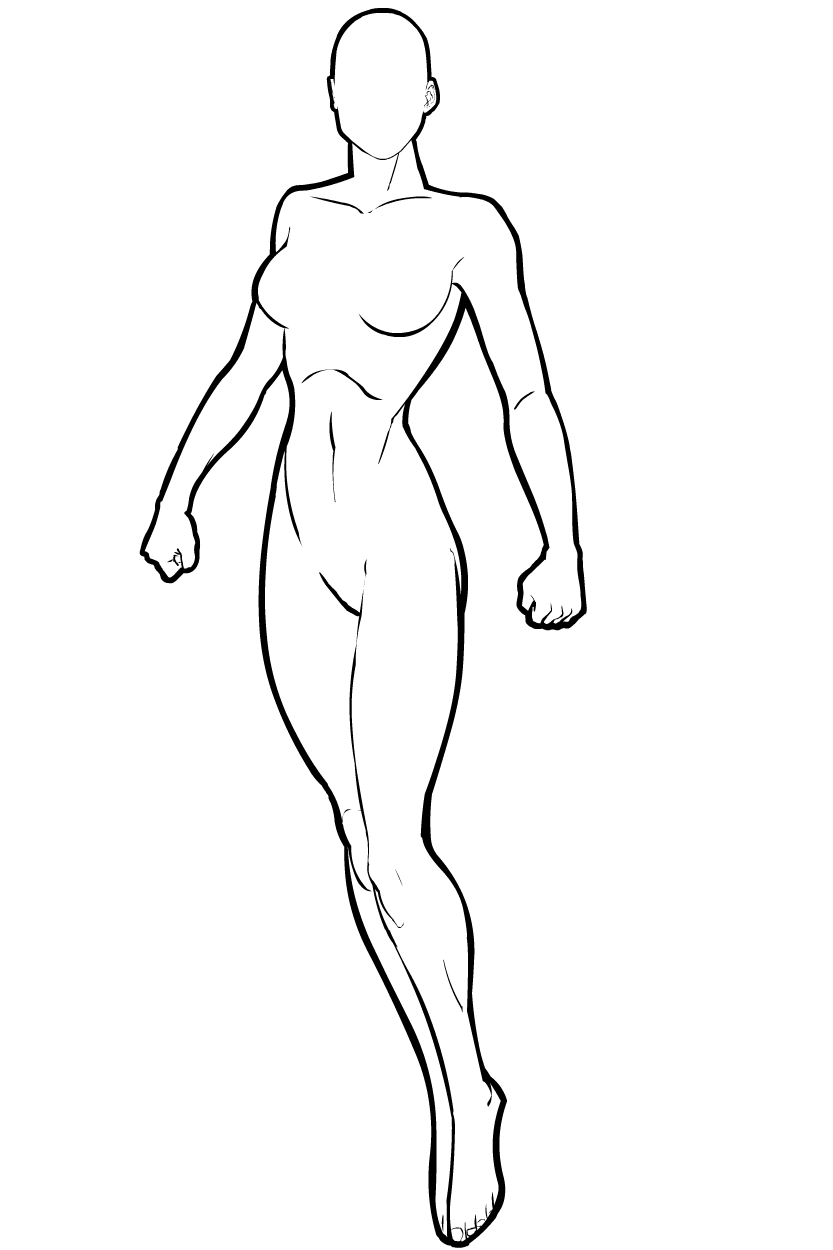 Superhero outline png. Female template b standing