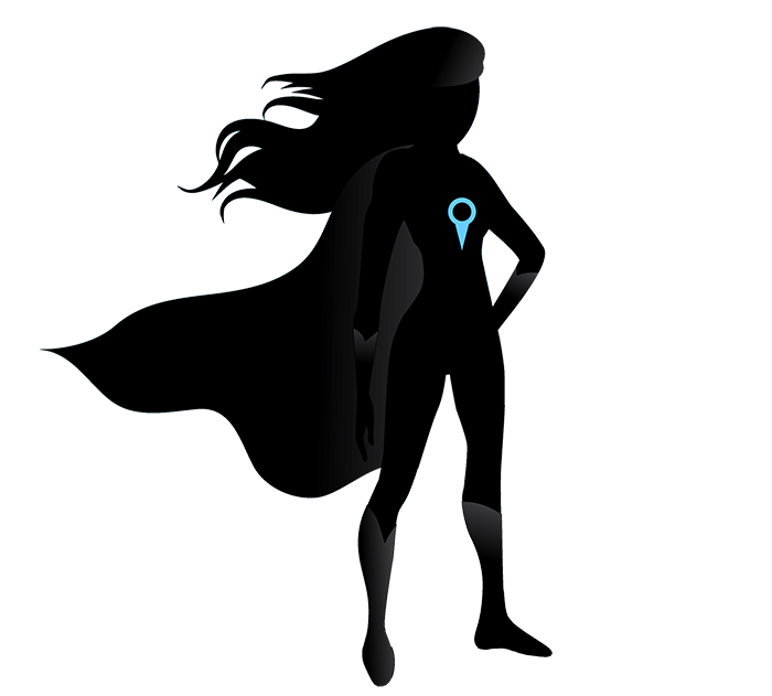 Superhero silhouette png. Girl with location pin