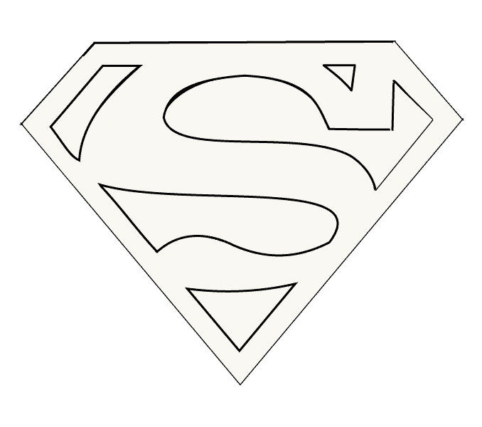 Superman logo outline png. How to draw easy
