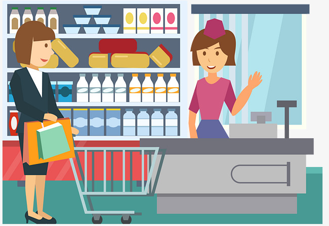 Cashier clipart grocery shopper. Supermarket shopping bread checkout
