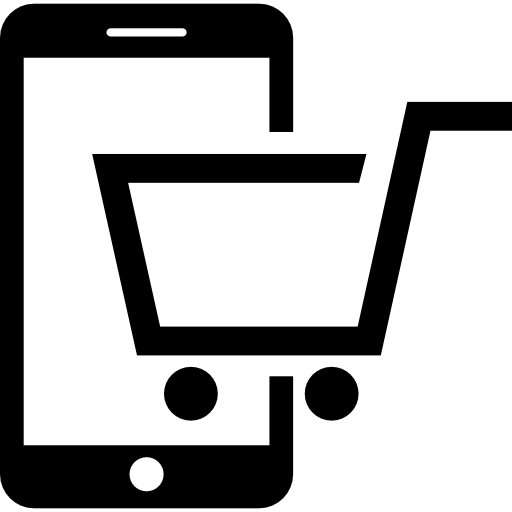 Trolley vector online shopping. Buying by phone cart