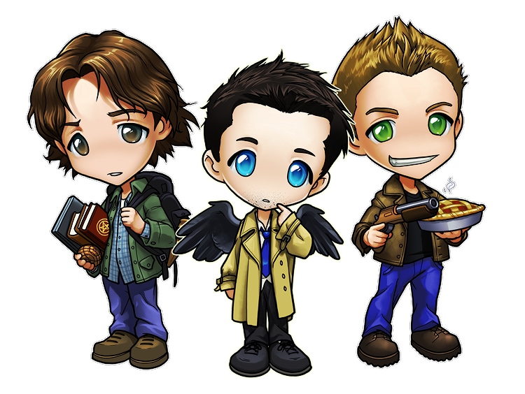 Supernatural clip castiel. Chibis sam dean and