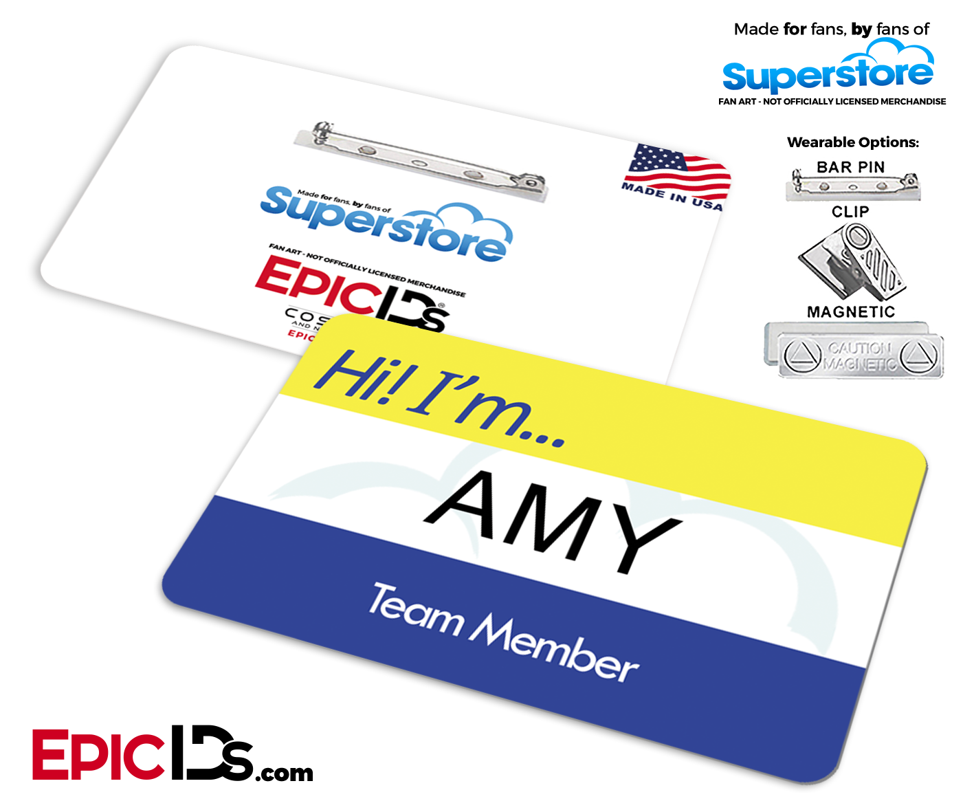 Employee name badge wearable. Superstore clip amy png black and white stock