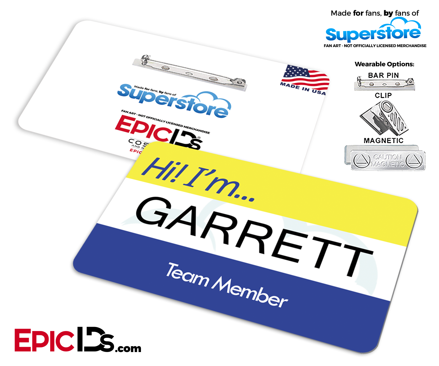 Superstore clip. Employee name badge wearable