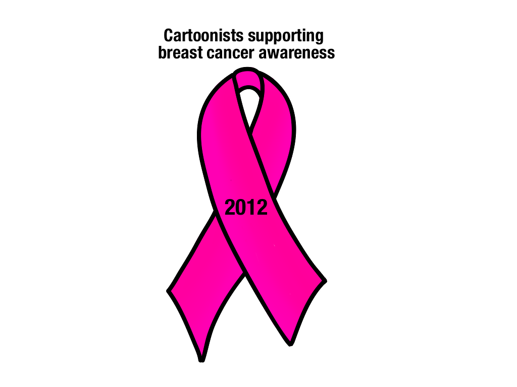 Support drawing breast cancer logo. Pink ribbon just outside