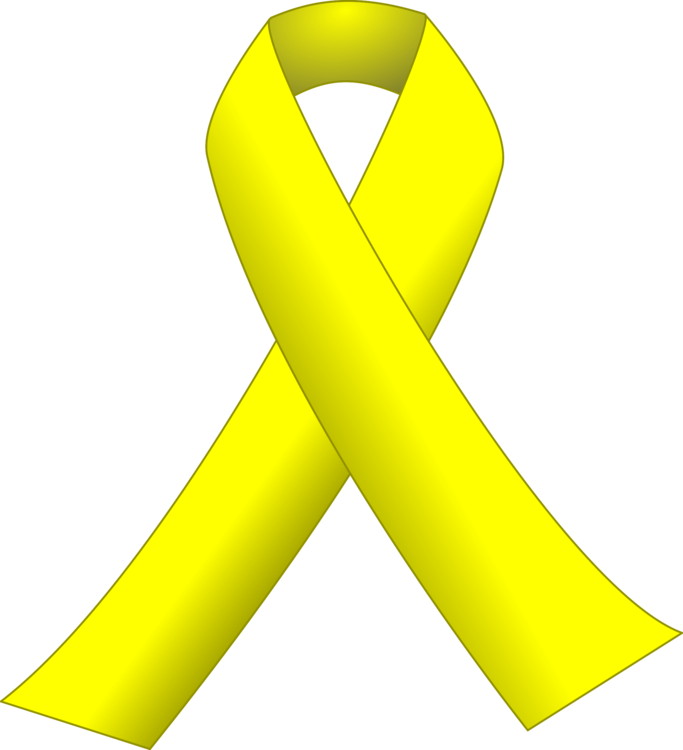 Support drawing yellow ribbon. Awareness cancer black free