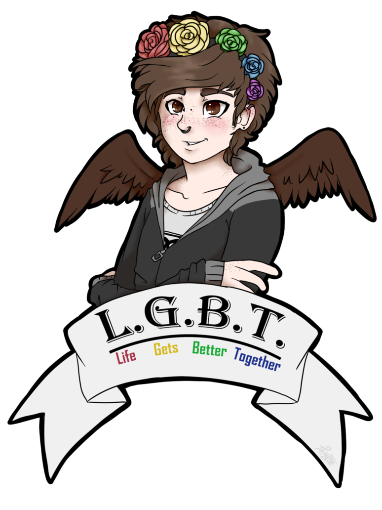 Androgynous drawing lgbtq pride. Lgbt by tainted blue