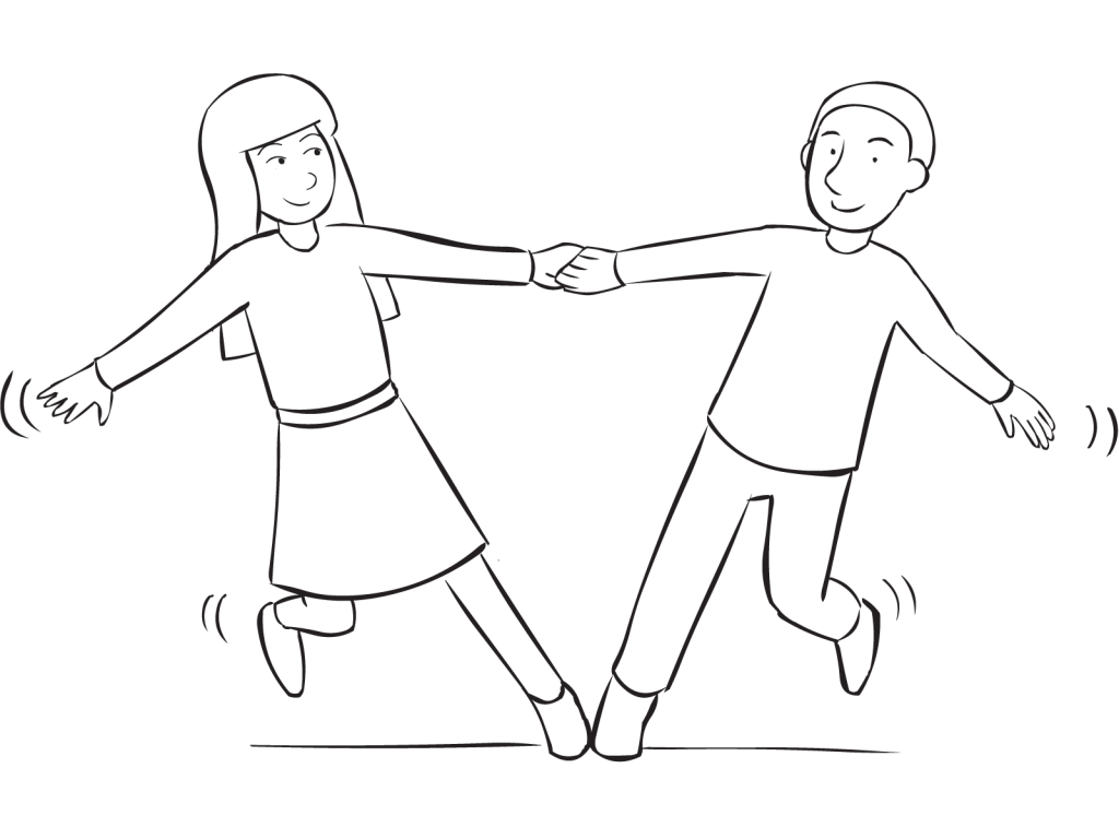 Support drawing simple hand holding. Star stretch fun sequence