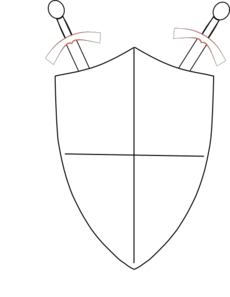 Support drawing sword. Crossed swords and shield