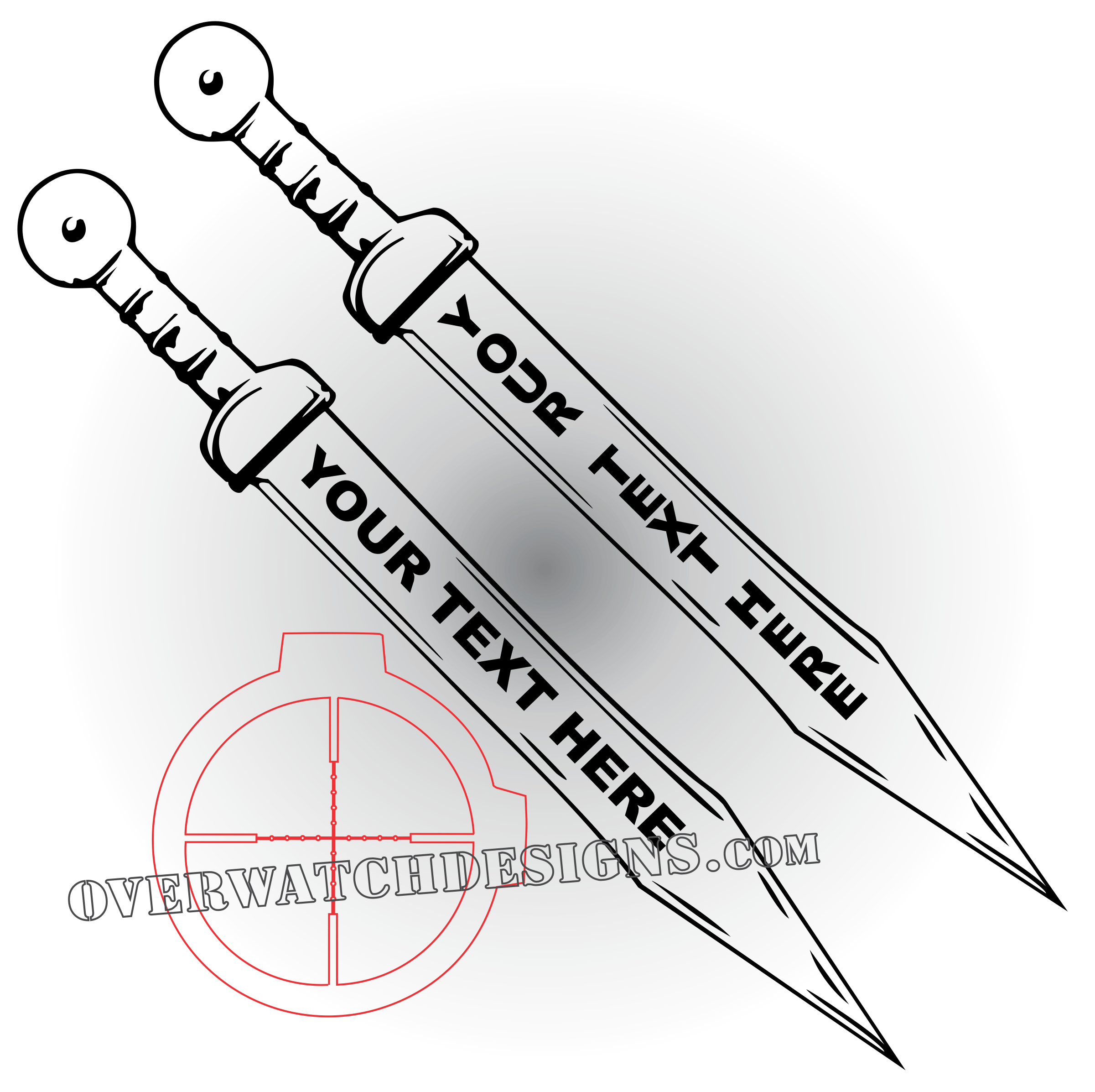 Support drawing sword. Decal with custom text