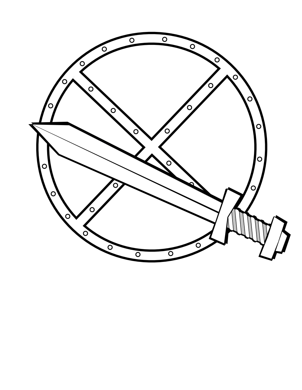 Support drawing sword. Onlinelabels clip art round