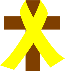 Support drawing yellow ribbon. Cross w clip art