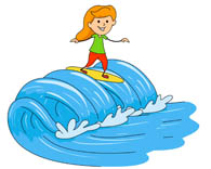 Surf clipart wave. Surfer girl